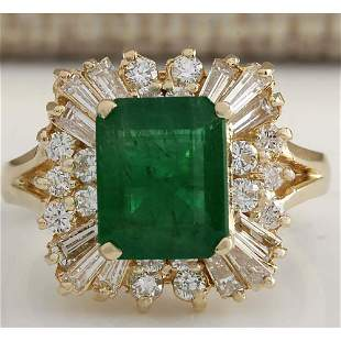 3.82 CTW Natural Emerald And Diamond Ring 14K Solid