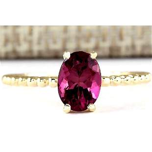 1.31 CTW Natural Pink Tourmaline Ring In 18K Yellow
