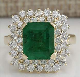 5.51 CTW Natural Emerald And Diamond Ring 18K Solid