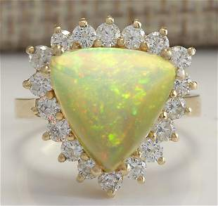 4.77 CTW Natural Opal And Diamond Ring In 14K Solid