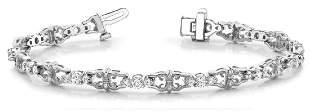 1.08 Carat Diamond Engagement 14K White Gold Bracelet