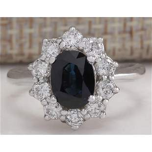 2.74 CTW Natural Blue Sapphire Diamond Ring 14K Solid
