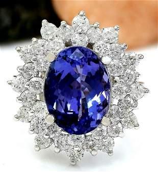 7.47 CTW Natural Tanzanite 18K Solid White Gold Diamond