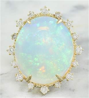 13.95 CTW Opal 14K Yellow Gold Diamond Ring