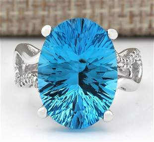 13.90 CTW Natural Blue Topaz And Diamond Ring In14k