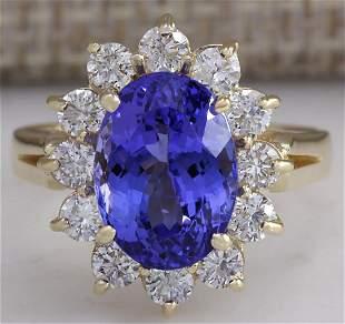 5.37 CTW Natural Blue Tanzanite And Diamond Ring 18K