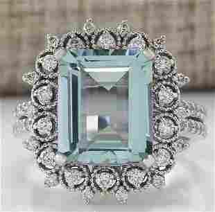 5.58 CTW Natural Blue Aquamarine Diamond Ring 18K Solid