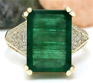8.73 CTW Natural Emerald 14K Solid Yellow Gold Diamond