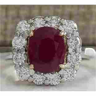 3.47 CTW Natural Ruby And Diamond Ring 18K Solid White