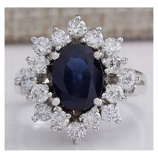 3.00 CTW Natural Blue Sapphire And Diamond Ring 14K