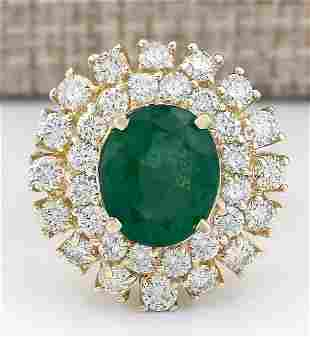6.65 CTW Natural Emerald And Diamond Ring In 18K Yellow
