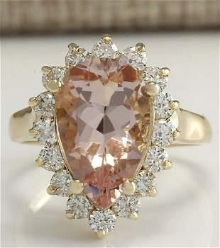 5.00 CTW Natural Peach Morganite And Diamond Ring In
