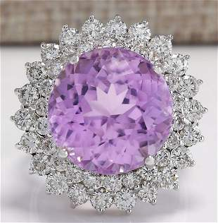 21.95 CTW Natural Kunzite And Diamond Ring 18K Solid