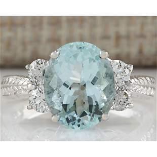 4.03CTW Natural Blue Aquamarine Diamond Ring 14K Solid