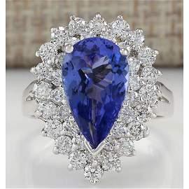 4.46 CTW Natural Tanzanite And Diamond Ring In 14K