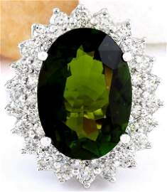 10.29 CTW Natural Tourmaline 18K Solid White Gold