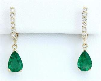 2.80 CTW Natural Emerald 14K Solid Yellow Gold Diamond