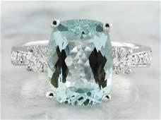 4.75 CTW Aquamarine 18K White Gold Diamond Ring