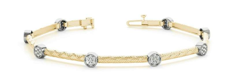 0.42 Carat Diamond Engagement 14K Yellow Gold Bracelet