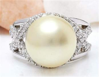 13.12 mm White South Sea Pearl 14K Solid White Gold