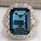 15.70CTW Natural London Blue Topaz And Diamond Ring