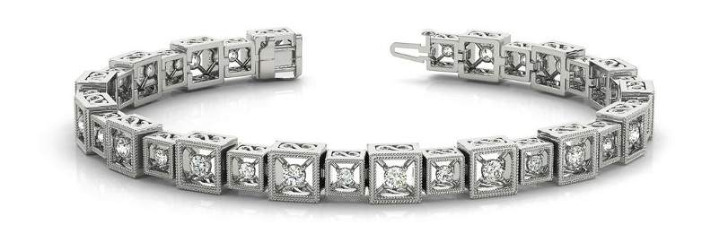 1.92 Carat Diamond Engagement 14K White Gold Bracelet
