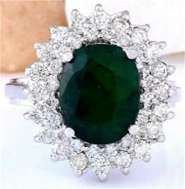 4.96 CTW Natural Emerald 18K Solid White Gold Diamond