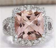 8.66 CTW Natural Peach Morganite And Diamond Ring In
