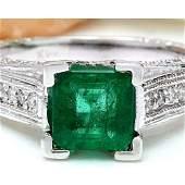 1.96 CTW Natural Emerald 18K Solid White Gold Diamond