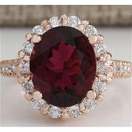 5.50 CTW Natural Pink Red Tourmaline And Diamond Ring