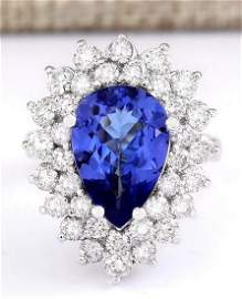 6.21 CTW Natural Blue Tanzanite And Diamond Ring 18K