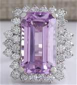 22.21 CTW Natural Pink Kunzite And Diamond Ring In 14K