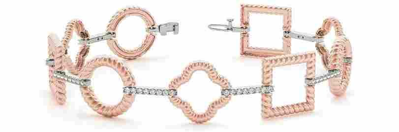 0.74 Carat Diamond Engagement 14K Rose Gold Bracelet