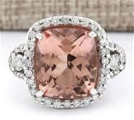 12.01 CTW Natural Morganite And Diamond Ring In 14k
