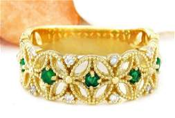 0.45 CTW Natural Emerald 18K Solid Yellow Gold Diamond