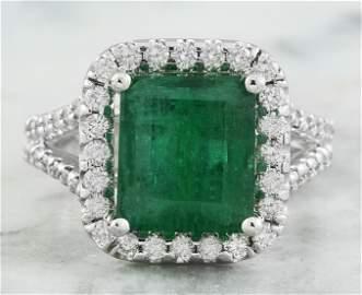 5.40 CTW Emerald 14K White Gold Diamond Ring