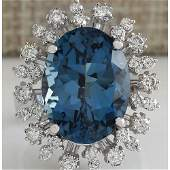 13.13CTW Natural London Blue Topaz And Diamond Ring