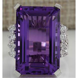20.85 CTW Natural Amethyst And Diamond Ring In 14K