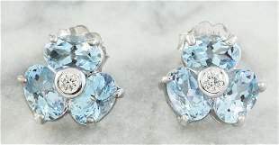 2.61 CTW Aquamarine 18K White Gold Diamond Earrings