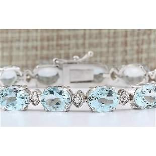 25.755 CTW Natural Aquamarine Diamond Bracelet In 14k