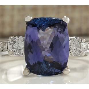 4.92 CTW Natural Tanzanite And Diamond Ring 18K Solid