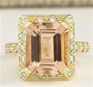 6.03 CTW Natural Morganite And Diamond Ring In 14k