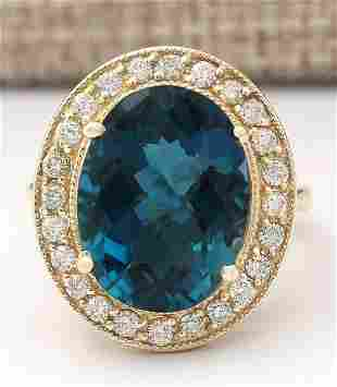 11.76 CTW Natural Topaz And Diamond Ring In 18K Yellow