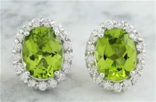 4.72 CTW Peridot 14K White Gold Diamond Earrings