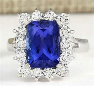 5.88tw Natural Blue Tanzanite And Diamond Ring 18K