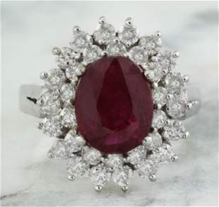 3.54 CTW Ruby 18K White Gold Diamond Ring