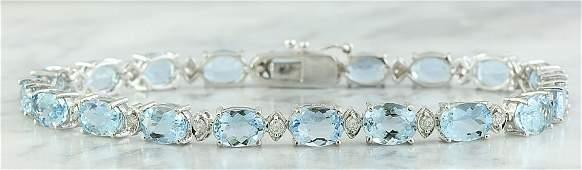 15.20 CTW Aquamarine 18K White Gold Diamond Bracelet