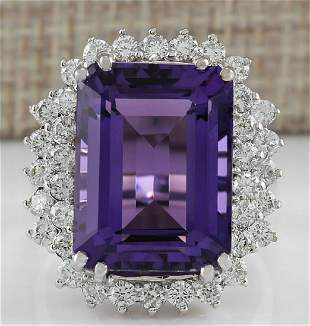 15.12 CTW Natural Amethyst And Diamond Ring In 18K