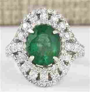 4.83 CTW Natural Emerald And Diamond Ring In 18K White