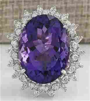 19.80 CTW Natural Amethyst And Diamond Ring In 14K